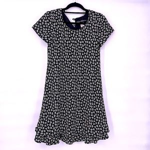 Vintage black and white flower summer dress 8